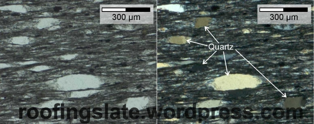 Quarzt grains in a slate sample from Galicia, Spain.